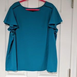 Teal flutter sleeve blouse Lane Bryant 22W